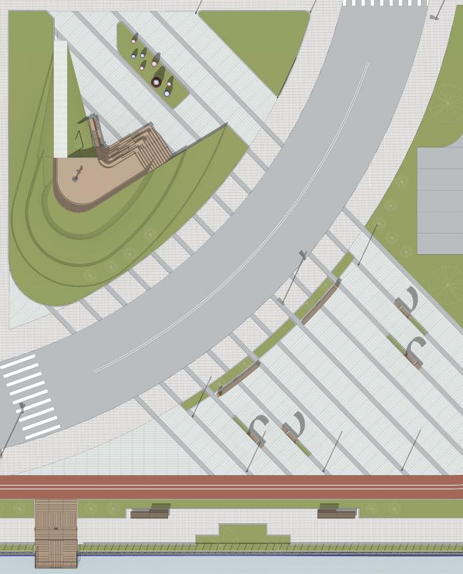 Концепция благоустройства набережной Нагатинского затона «Ривер Парк». Генеральный план. Конкурсный проект, 2015 © T+T architects