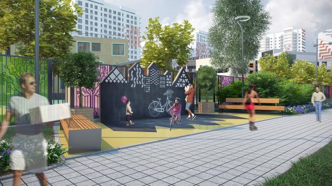 Проект благоустройства ЖК «Ривер-Парк». Проект, 2016. Вторая очередь © T+T Architects