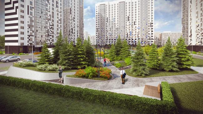 Проект благоустройства ЖК «Ривер-Парк». Проект, 2016. Первая очередь © T+T Architects