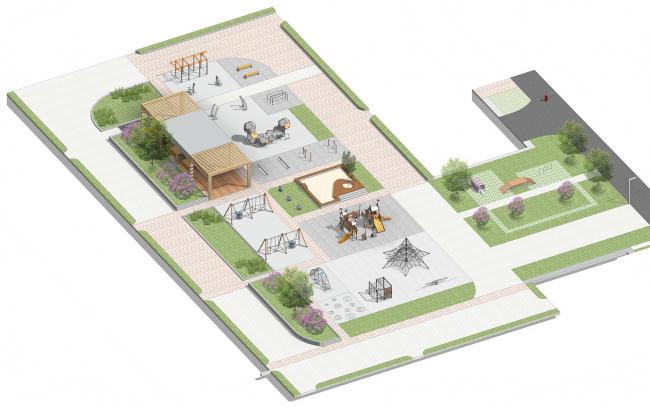 Проект благоустройства территории ЖК «Водный». Аксонометрия. Проект, 2016 © T+T Architects