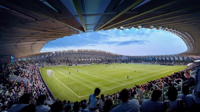 Футбольный стадион Forest Green Rovers. 2-я очередь строительства. 10 000 мест. Изображение © VA