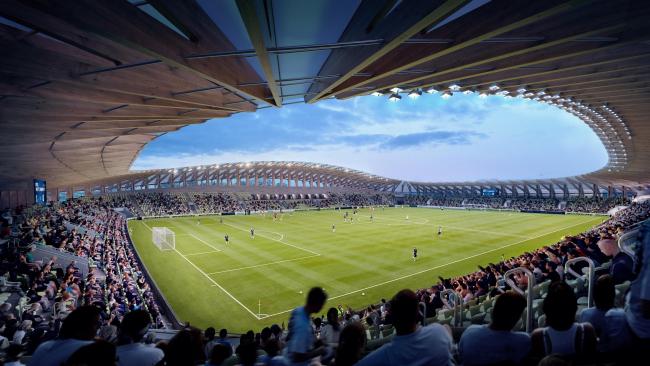 Футбольный стадион Forest Green Rovers. 1-я очередь строительства. 5000 мест. Изображение © VA