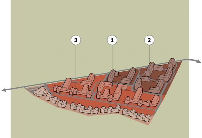 Жилой комплекс около деревни Палкино. Вариант 1. Очереди строительства. Проект, 2016 © PANACOM