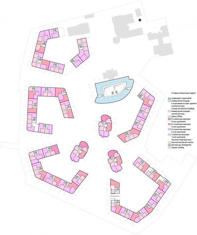Жилой комплекс «Серебряный фонтан». План 2 этажей. Проект, 2016 © Атриум
