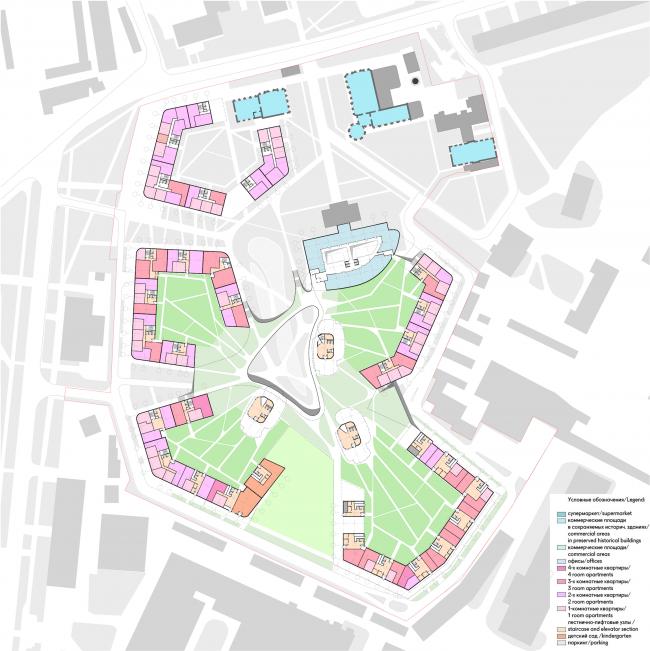 Жилой комплекс «Серебряный фонтан». План 1 этажа. Проект, 2016 © Атриум