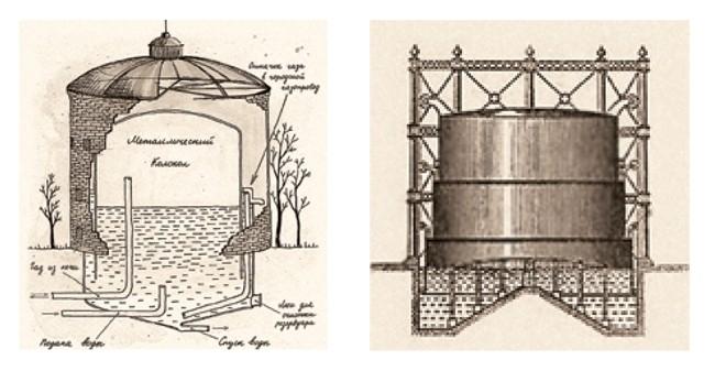 Схема устройства газгольдера; из буклета ДЦ