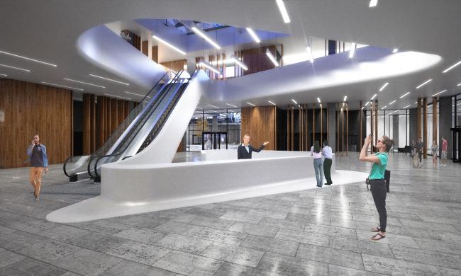 Интерьер центрального ядра на первом этаже. Проект, 2016 © Архитектурное Бюро ОСА