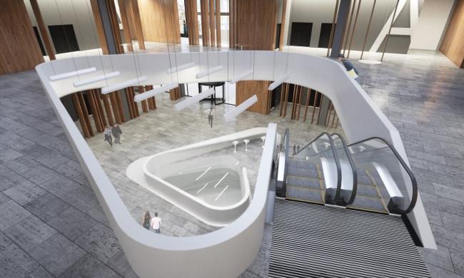 Интерьер центрального ядра на втором этаже. Проект, 2016 © Архитектурное Бюро ОСА