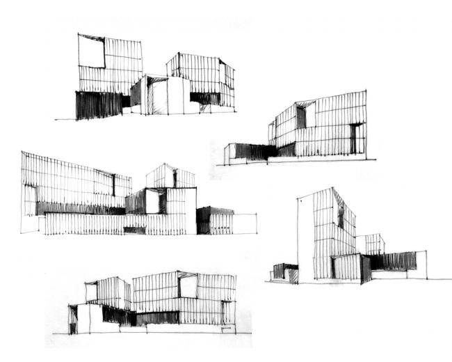 Эскиз альтернативного решения фасадов. Проект, 2016 © Архитектурное Бюро ОСА