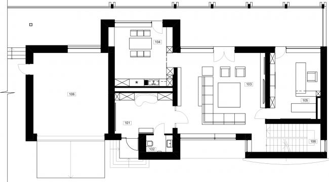 Частный жилой дом «Julia House». Главный дом, план 1 этажа. Реализация, 2014 © Архитектурная мастерская Романа Леонидова