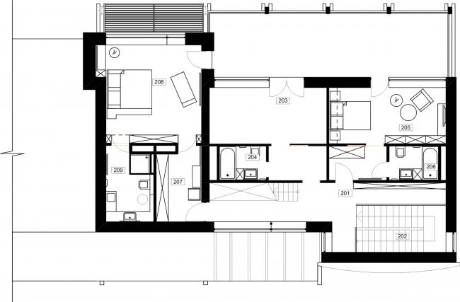 Частный жилой дом «Julia House». План 2 этажа. Реализация, 2014 © Архитектурная мастерская Романа Леонидова