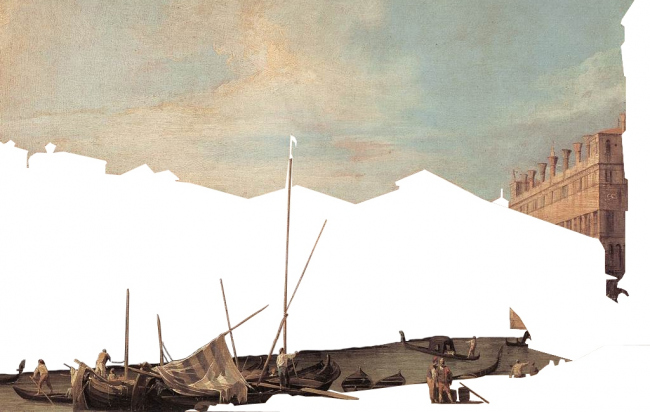 Комплекс Фондако деи Тедески – реконструкция. Фрагменты картины Каналетто (1727) © OMA