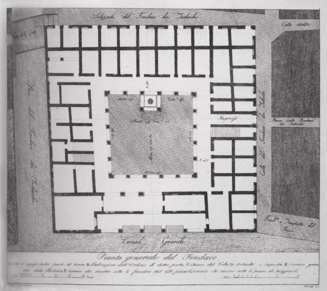Комплекс Фондако деи Тедески – реконструкция. План 1-го этажа. 1505 год © OMA