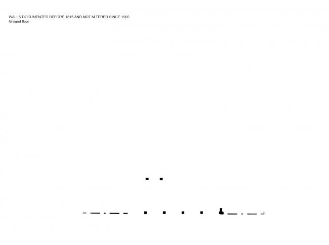Комплекс Фондако деи Тедески – реконструкция. План 1-го этажа. Стены, возведенные до 1815 и не изменявшиеся после 1900 © OMA
