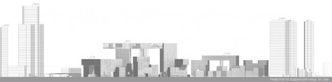 Диплом I степени.  Анна Водолазская.  Дипломный проект «Многофункциональный жилой и гостиничный комплекс в Пресненском районе на пересечении улиц Ходынская и 1905 года». Развертка по Ходынской улице