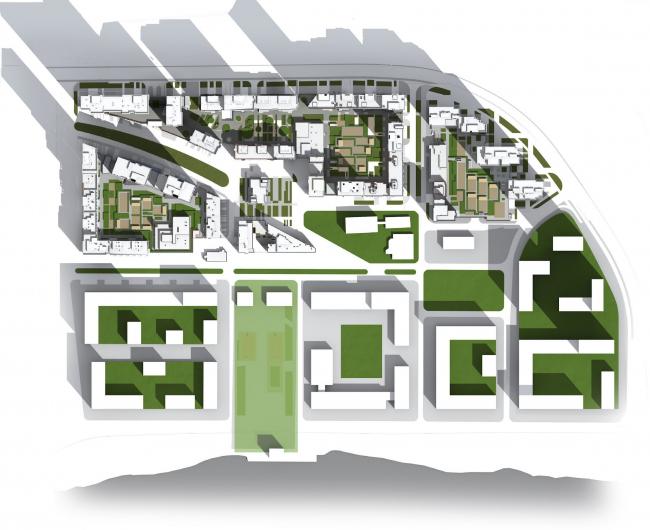 Многофункциональный жилой комплекс в Мукомольном проезде. Общая схема. Проект, 2016 © Остоженка