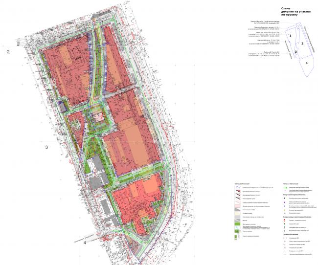 Многофункциональный жилой комплекс в Мукомольном проезде. Генеральный план. Проект, 2016 © Остоженка