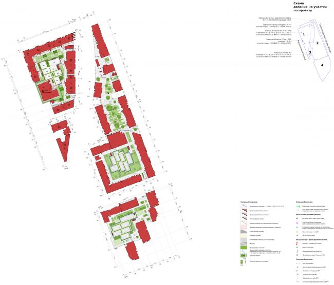 Многофункциональный жилой комплекс в Мукомольном проезде. Схема стилобата. Проект, 2016 © Остоженка
