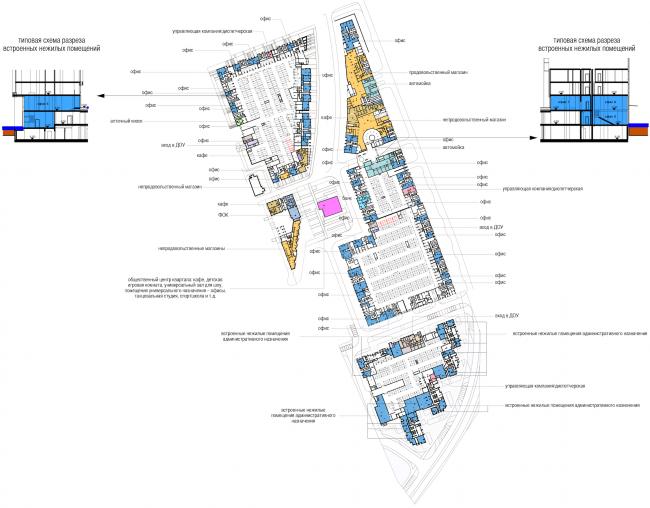 Многофункциональный жилой комплекс в Мукомольном проезде. Схема расположения коммерческих помещений. Проект, 2016 © Остоженка