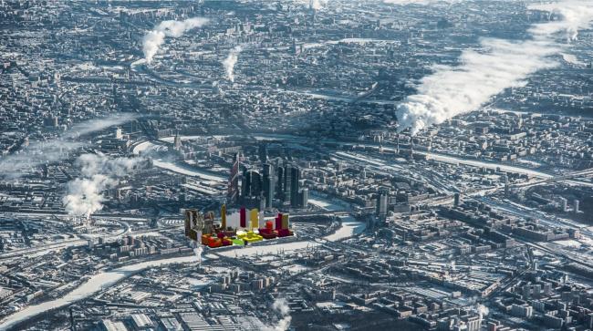 Многофункциональный жилой комплекс в Мукомольном проезде. Фотовстройка. Проект, 2016 © Остоженка
