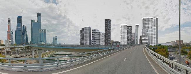 Многофункциональный жилой комплекс в Мукомольном проезде. Вид с ТТК. Проект, 2016 © Остоженка