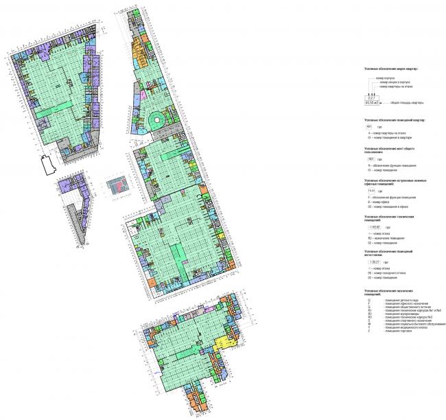 Многофункциональный жилой комплекс в Мукомольном проезде. План -2 этажа. Проект, 2016 © Остоженка