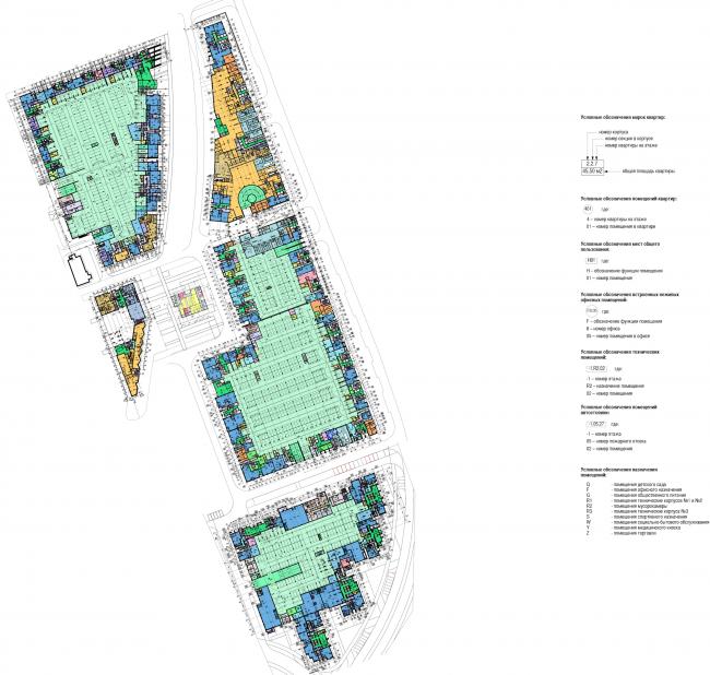 Многофункциональный жилой комплекс в Мукомольном проезде. План -1 этажа. Проект, 2016 © Остоженка