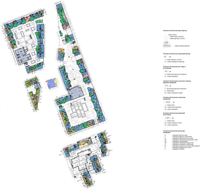 Многофункциональный жилой комплекс в Мукомольном проезде. План 1 этажа. Проект, 2016 © Остоженка