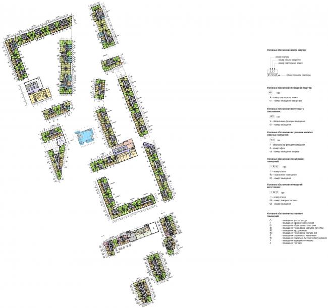 Многофункциональный жилой комплекс в Мукомольном проезде. План 3 (типового) этажа. Проект, 2016 © Остоженка