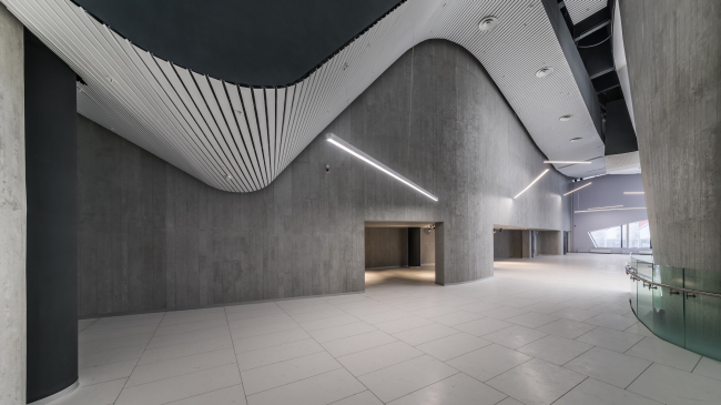 Interior of the entrance lobby and the museum of the sports complex of SKA hockey club. Implementation, 2016 © A.Len Architectural Bureau