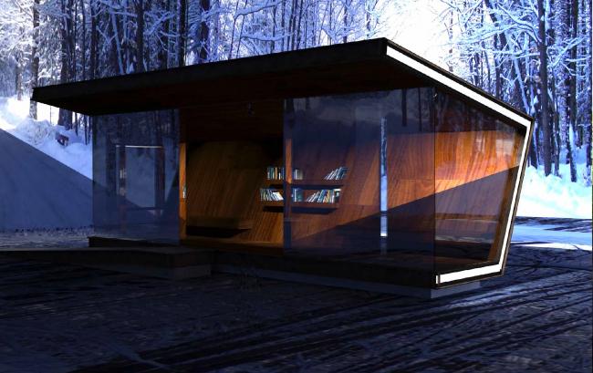 Проект остановочного комплекса Library bus stop. Изображение предоставлено журналом «Проект Балтия»