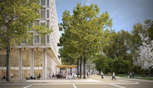 Бывшее здание посольства США в Лондоне – трансформация в отель. Изображение: DBOX