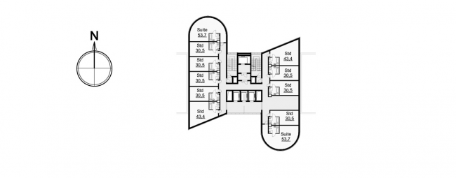 Hotel complex and media center in Chelyabinsk. Plan of the typical floor of the hotel. Project, 2016 © GrandProjectCity