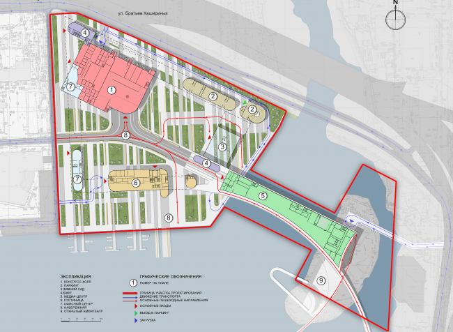 Hotel complex and media center in Chelyabinsk. Master plan. Project, 2016 © GrandProjectCity