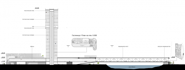 Hotel complex and media center in Chelyabinsk. Section view and plan of the 1st floor of the hotel. Project, 2016 © GrandProjectCity