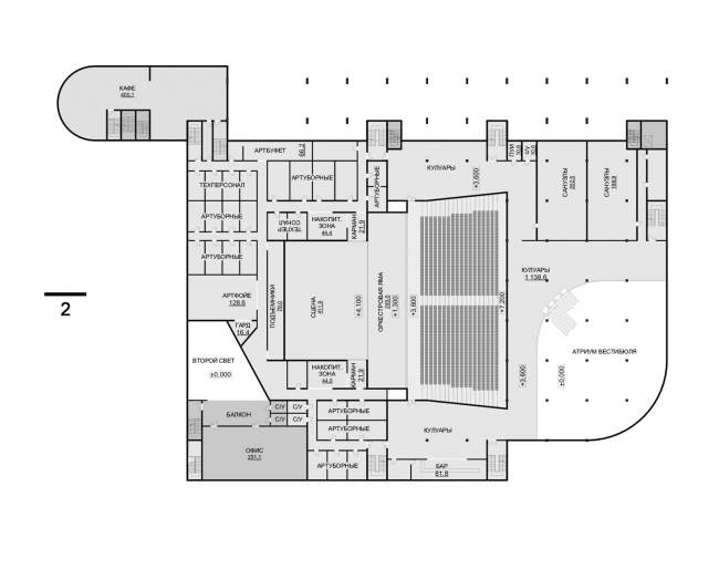 Hotel complex and media center in Chelyabinsk. Plan of the 2nd floor of the convention hall. Project, 2016 © GrandProjectCity