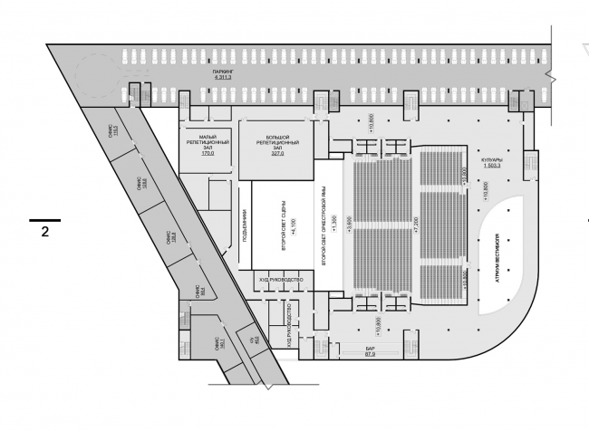 Hotel complex and media center in Chelyabinsk. Plan of the 3rd floor of the convention hall. Project, 2016 © GrandProjectCity