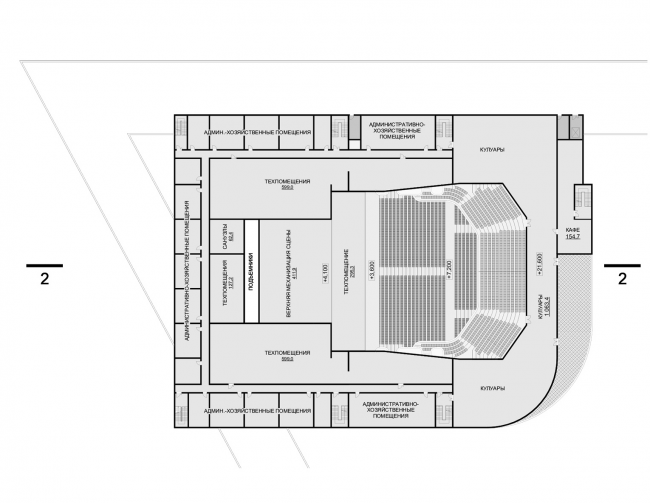 Hotel complex and media center in Chelyabinsk. Plan of the 4th floor of the convention hall. Project, 2016 © GrandProjectCity
