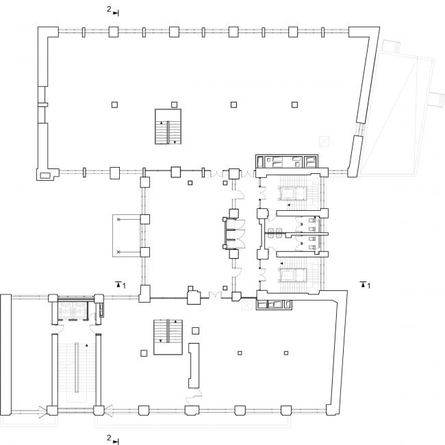 Реставрация здания газеты «Известия». План 2 этажа. 2016 © Гинзбург Архитектс