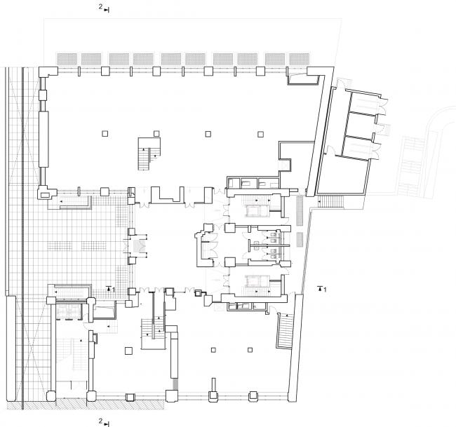 Реставрация здания газеты «Известия». План 1 этажа. 2016 © Гинзбург Архитектс