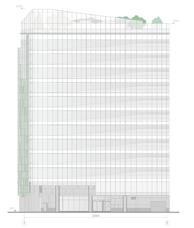 Административно-гостиничное здание в Ботаническом переулке. Фасад в осях 1-7 © Попов и архитекторы