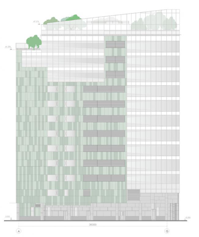 Административно-гостиничное здание в Ботаническом переулке. Фасад в осях A-G © Попов и архитекторы
