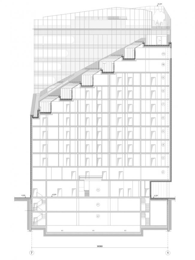 Административно-гостиничное здание в Ботаническом переулке. Разрез 2-2 © Попов и архитекторы
