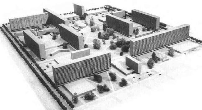 Первоначальный проект редевелопмента территории предполагал строительство «grand ensemble» (жилого микрорайона) в соответствии с догматами Афинской Хартии. Арх. Жан Сийян, Жан Цумбруннен. 1958-62 гг.