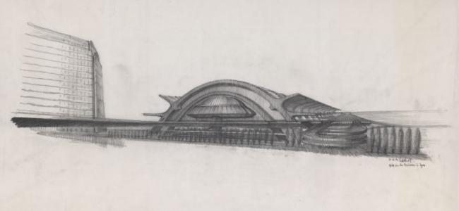 Новый вокзал Пар-Дьё. Конкурсный проект. Арх. Шарль Дельфант, Клод Паран, Рене Гажес, Андре Ремонде. 1973 г. Источник: Collection Frac Centre