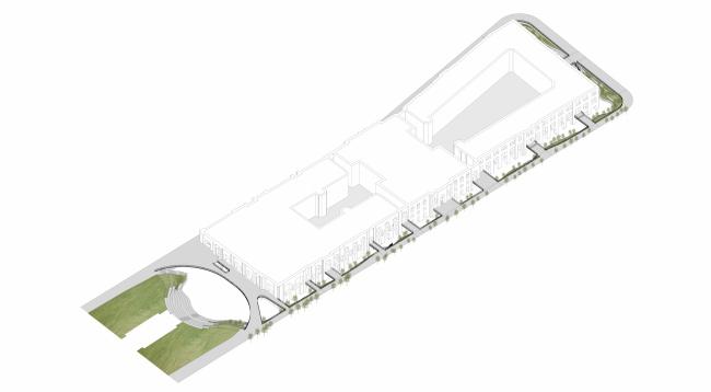 «Музейный парк». Благоустройство пешеходной зоны и территории, прилегающей к Политехническому музею. Аксонометрия. Проект, 2016 © Wowhaus