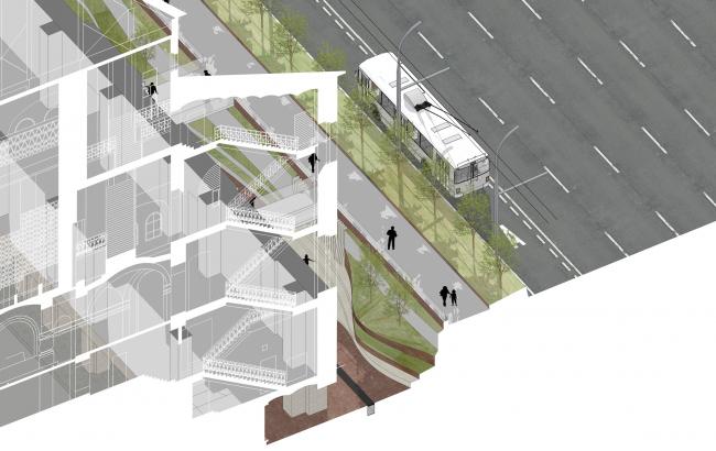 «Музейный парк». Благоустройство пешеходной зоны и территории, прилегающей к Политехническому музею. Разрез с тротуаром. Проект, 2016 © Wowhaus