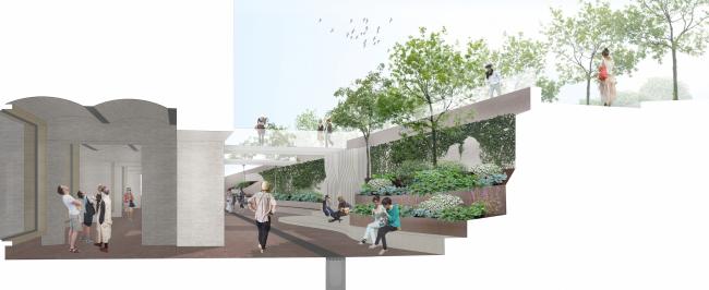 «Музейный парк». Благоустройство пешеходной зоны и территории, прилегающей к Политехническому музею. Яма. Проект, 2016 © Wowhaus