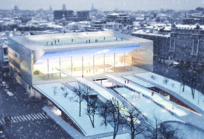 Реконструкция  кинотеатра «Пушкинский», конкурсный проект, short list, 2011 © Архитектурная группа ДНК