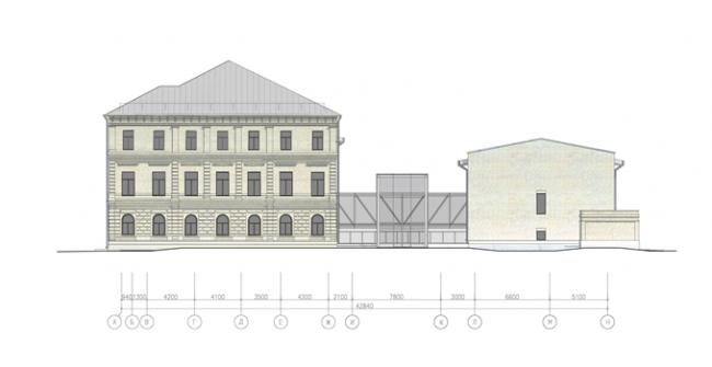 Реконструкция бывших фабричных зданий по ул. Верхняя Красносельская. Схема восточного фасада на основе. Предоставлено Москомархитектура